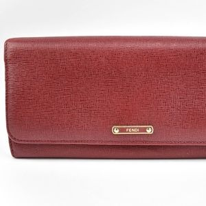 FENDI Crayons Red, Leather & Logo Long Wallet (m)